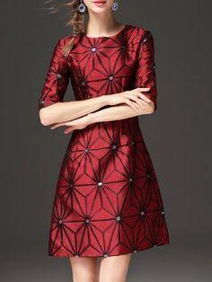 Polyester Geometric Half Sleeve Elegant Midi Dress