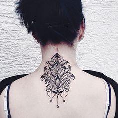 Lotus and Mandala with Embellishments Tattoo Design on Back Neck