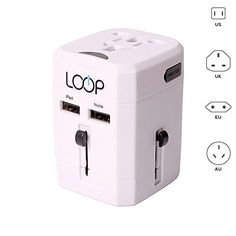USA to UK Plug Adapter from LOOP Electronics - SMART POWER. Worldwide all-in-one Travel Adapter with a Universal AC Socket and Multiple USB Charger Ports. Airline Pilot and Cabin Crew Endorsed. Upgrade your International Charging Experience! (White) LOOP Electronics http://www.amazon.com/dp/B00Y6NRZFU/ref=cm_sw_r_pi_dp_ejmXvb0R68R9F