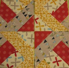 Quick Fun Strip Block...strip piece four jelly roll strips, cut into squares, layer two blocks WST w/ strips facing in opposite directions, sew around all four edges, cut diagonally from corner to corner, open and press, and sew in this configuration.