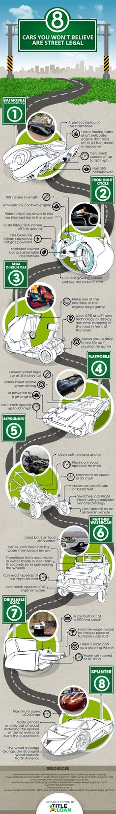 8 Cars You Won't Believe are Street Legal #infographic