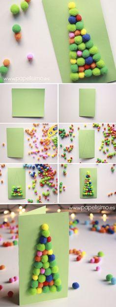 Tarjetas navideñas con pompones para niños | http://papelisimo.es/tarjetas-navidenas-con-pompones-para-ninos/