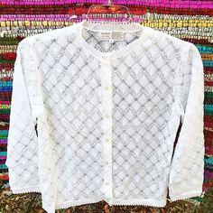Vintage 1960s Pointelle Cardigan White Sweater Acrylic Large Granny Sweater  | eBay