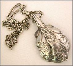 Vintage Silverplate Sugar Spoon Grapevine Pendant Necklace