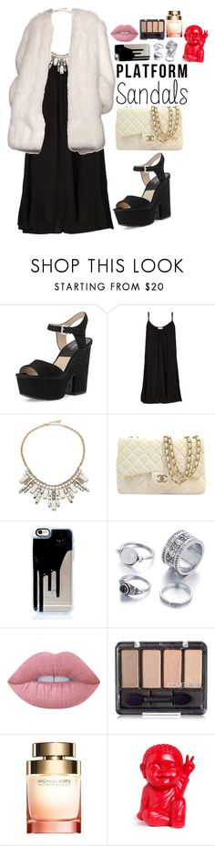 """Platform sandals"" by nare-861 ❤ liked on Polyvore featuring Michael Kors, Velvet, ABS by Allen Schwartz, Derek Lam, Chanel, Lime Crime and platforms"