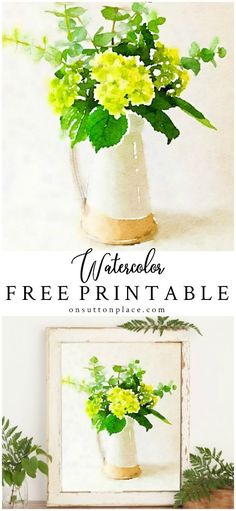 Make your own printable wall art with these free watercolor flowers digital files. Just download, print, and frame for instant custom art! #freeprintable #hydrangeas #watercolor