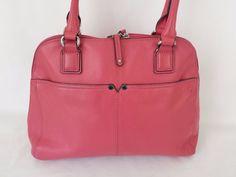Tignanello Purse Leather Pink Bag Purse Zipper Closing and Pockets #Tignanello #ShoulderBag #pink