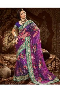 Purple Net Saree for Party