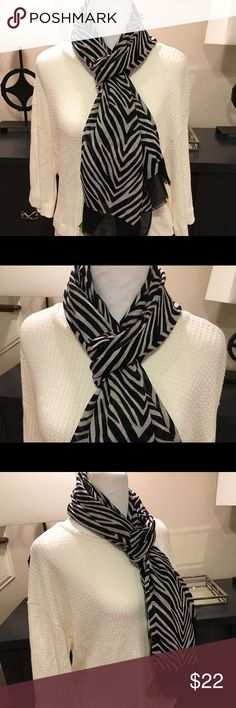 """Vera Bradley Black & White Zebra Soft Wool Scarf Brand New With Tags a VB Black and white zebra print scarf with Fringe. So much fun to wear. Versatile for winter days or cool spring or summer nights. Measurements are 72.5""""W x 26.4""""H  Vera Bradley Accessories Scarves & Wraps"""