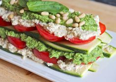 Raw zucchini lasagne, vegan, gluten free