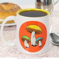 Mushrooms Vintage 1970s Ceramic Coffee Mug 10 oz.