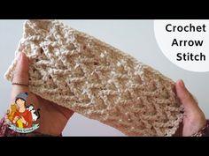 How To Crochet Arrow Stitch Crochet Tablecloth, Knit Mittens, Crochet Videos, Crochet Stitches, Fingerless Gloves, Arm Warmers, Arrow, Blanket, Knitting