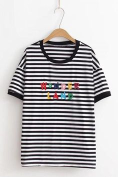 5eed1051452e Embroidered Lettering Striped Short Sleeve Casual Tee One SIze - Hautify