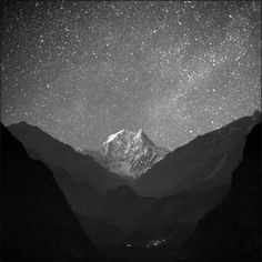 "NILGIRI SOUTH by Anton Jankovoy. Nilgiri in Nepal tehcnically means the ""Blue Mountain"". That's the most typical night in Himalayas. The stars are amazing. Nepal, ACAP, view of Kali Gandaki Valley with Nilgiri South from Tatopani 2011 Oh The Places You'll Go, Places To Visit, Beautiful World, Beautiful Places, Beautiful Sky, Mount Everest, Ciel Nocturne, All Nature, To Infinity And Beyond"