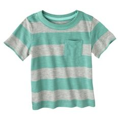 Cherokee® Infant Toddler Boys' Short Sleeve Rugby Striped Tee 12 mths in colors Aqua Sail, Mango Fizz, Misty Meadow