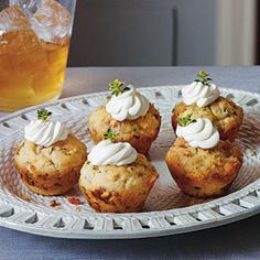 Try these as a perfect companion to a cocktail. Test Kitchen Specialist Marian Cooper Cairns likes to use a combination of parsley, thyme, and oregano, but sage, rosemary, basil, and chives will work just as well. Using a small cookie dough scoop for the batter gives the baked cupcakes a pretty round top.