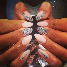 Light pink almond gel nails with rhinestones  Haters gonna hate | via Tumblr