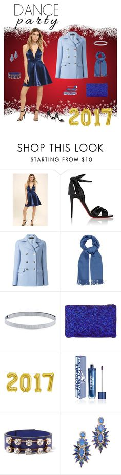 Blue for New Years by boy4fashion on Polyvore featuring LULUS, Versace, Christian Louboutin, John Lewis, Marni, Elizabeth Cole, BERRICLE, MaxMara and Lipstick Queen
