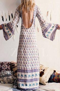 Floral Print Backless Long Sleeve Dress