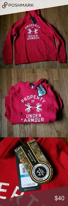 "Under Armour ""Property Of"" Hoodie XL New with tags. Hoodie is a deep red with white print. Nice heavier sweatshirt sure to keep you warm. Under Armour Shirts Sweatshirts & Hoodies"