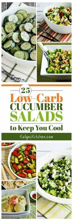 It's hot outside, and here are 25 Low-Carb (and Keto) Cucumber Salads to Keep You Cool all summer long! [found on KalynsKitchen.com] #KalynsKitchen #LowCarbCucumberSalads #KetoCucumberSalads #LowGlycemicCucumberSalads #CucumberSalads