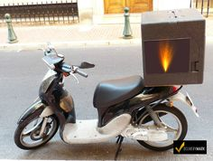 Moped, Motor Scooter, making a food delivery