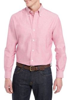 Saddlebred Men's Long Sleeve Solid Oxford Shirt - Ultra Pink - 16 34-35