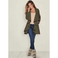 Venus Women's Waterfall Front Jackets & Coats ($50) ❤ liked on Polyvore featuring outerwear, coats, green, long sleeve coat, waterfall coats and green coat