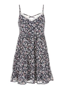 cross back lace neckline floral dress - maurices.com