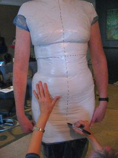To fit clothes properly, instructions on how to make a custom dummy for your body type, via Paula O'Brien.