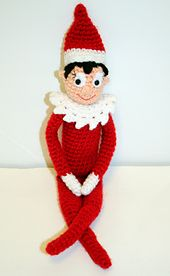 """Now you can make your own crochet Elf on the Shelf doll. This doll is so much fun! He or She is just right to cuddle and play with. Doll is about 14"""" tall if using same yarn as called for in pattern. This doll is inspired by the Elves from the Elf on the Shelf! It comes with and optional skirt to make the girl elf """"Snowflake"""" and it also comes with an alternate face to have large cheeks or not."""