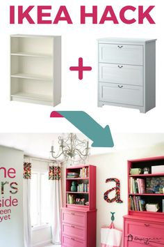 This IKEA Billy bookcase hack is as pretty as it is function.- This IKEA Billy bookcase hack is as pretty as it is functional! Learn how to use… This IKEA Billy bookcase hack is as pretty as it is functional! Ikea Furniture Hacks, Ikea Hacks, Furniture Storage, Furniture Websites, Apartment Furniture, Bedroom Furniture, Furniture Ideas, Inexpensive Furniture, Furniture Online