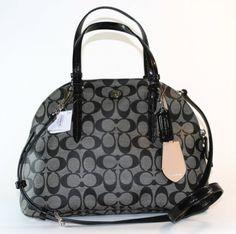 Women's Top-Handle Handbags - COACH Peyton Signature Cora Dome Satchel  BlackWhite * Want additional info? Click on the image.