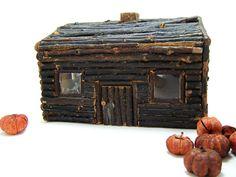 Folk Art Log Cabin by fresheggsantiques on Etsy, $24.00