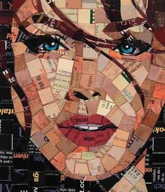 recycled paper mosaic2.  Paris, this would be cool to do with a classic portrait for your room.