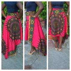Pink Hi Low Skirt; African Clothing; African fashion; African Print; African Skirt; Summer Skirt; Skirt (Choose Fabric)