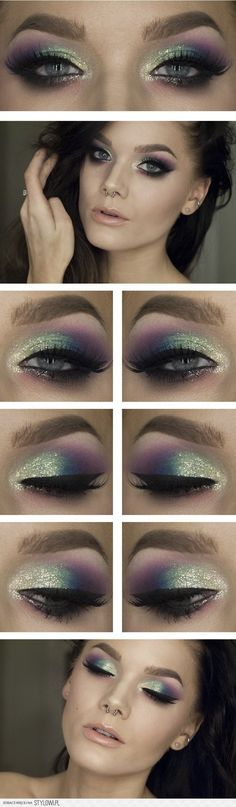 colourful shiny make up