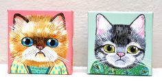 cats in clothes painting.