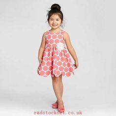 12185870 Zenzi Toddler Girl's Sleeveless Polka Dot Pique Scallop Hem A Line Dress - Coral/White 2T,3T,4T