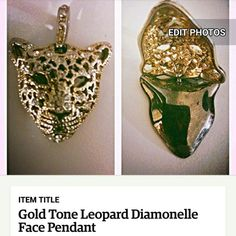 Gold Tone and Diamonelle Leopard Pendant. Stones that sparkle. This piece is Fierce!