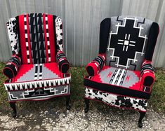 Items similar to SOLD! Navajo Southwestern Custom Upholstered Accent Wingback Chairs on Etsy Pendleton Wool Blanket, Pendleton Fabric, Dream Furniture, Types Of Furniture, Southwestern Chairs, Southwest Decor, Southwest Style, Estilo Navajo, Funky Chairs