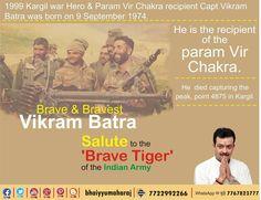 Salute to the 'Sher Shah' of the Indian Army #VikramBatra  जिनकी शहादत की कसमें कारगिल की पहाड़ियां आज भी खाती हैं, उन्हीं शहीद कैप्टन#VikramBatra को देश सलाम करता है Indiana, Kargil War, Upsc Civil Services, Army Life, Indian Army, Chakra, Brave, Knowledge, About Me Blog