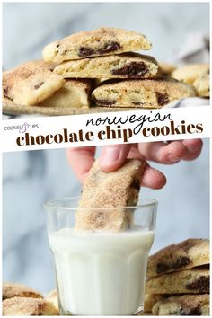 Norwegian Chocolate Chip Cookies are a flaky and tender spin on chocolate chip cookies topped with a light dusting of cinnamon sugar.This easy cookie recipe is special enough for a holiday platter or simple enough for an after school treat! Skillet Chocolate Chip Cookie, Chewy Chocolate Chip Cookies, Mini Chocolate Chips, Favorite Cookie Recipe, Best Cookie Recipes, Baking Recipes, Favorite Recipes, Dessert Dishes, Cookie Desserts