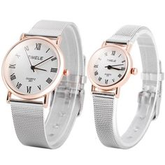 Timele 391 Couple Quartz Watch Roman Numerals Indicate and Stainless Steel Watch Band-8.64 and Free Shipping| GearBest.com