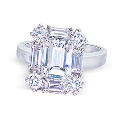 3 carat emerald center diamond engagement by diamondsfromnewyork