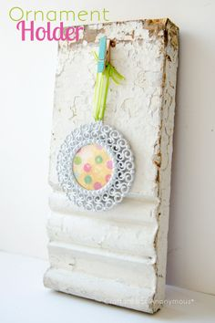 ornament holder- use vintage trim and a clothespin #JustAddMichaels
