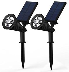 Lemontec 2-in-1 Adjustable 4 LED Wall / Landscape Solar Lights with Automatic On/Off Sensor, 2 Pack #carscampus