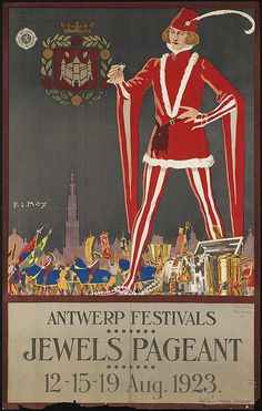 Vintage poster of Antwerp festivals, the Jewels Pageant in 1923 - Belgium country of festivals