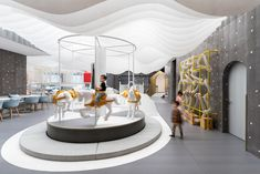 The first educational family restaurant in China, The Lolly-Laputan Kids Café by Wutopia Lab - FAIRP Office Interior Design, Office Interiors, Interior Shop, Cafe Interiors, Interior Decorating, Dreams For Kids, Red Velvet Curtains, Melbourne, Best Office