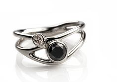 bewitched-14K white gold with black and white diamond ring